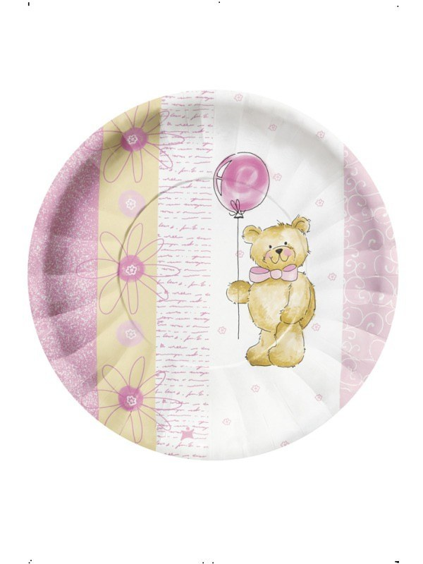 Pink Teddy Bear Plates 10 Pack