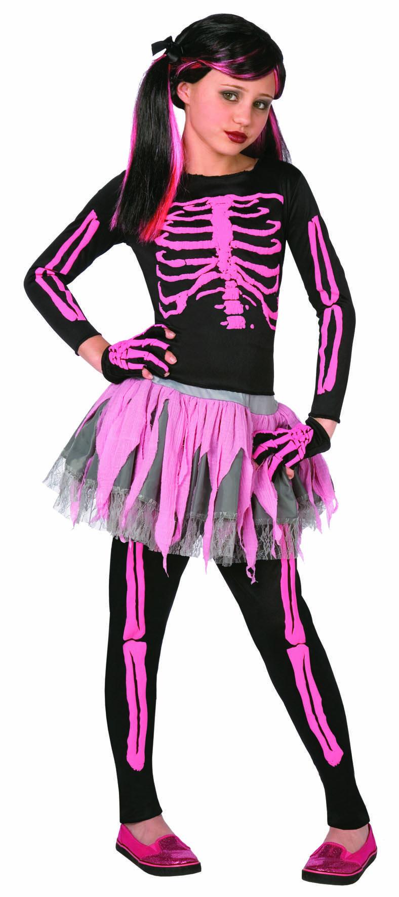 Girls Pink Skeleton Costume
