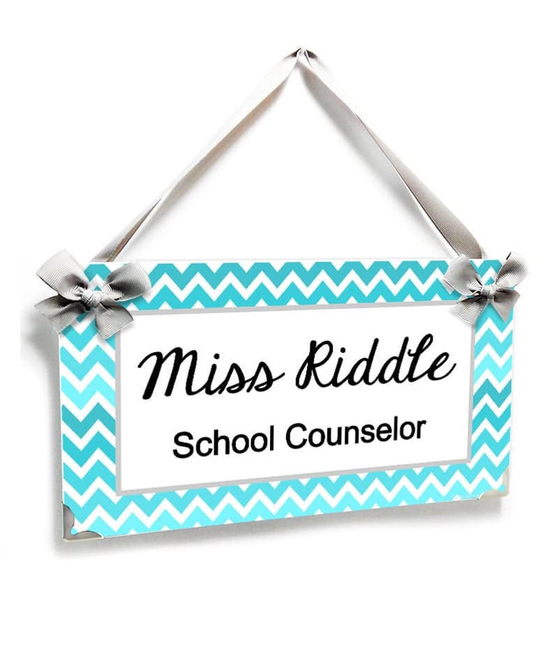personalized school counselor classroom door sign - teal turquise chevron - P2511 Graduation Gift