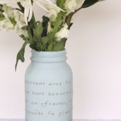 Beach Themed Kitchen Decor Pine Bench French Script Mason Jar Vase - The Country Chic Cottage
