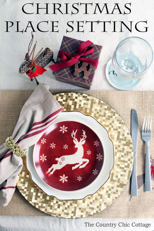 A gorgeous Christmas place setting for your holiday meal. Get everything you need with one stop at the store!