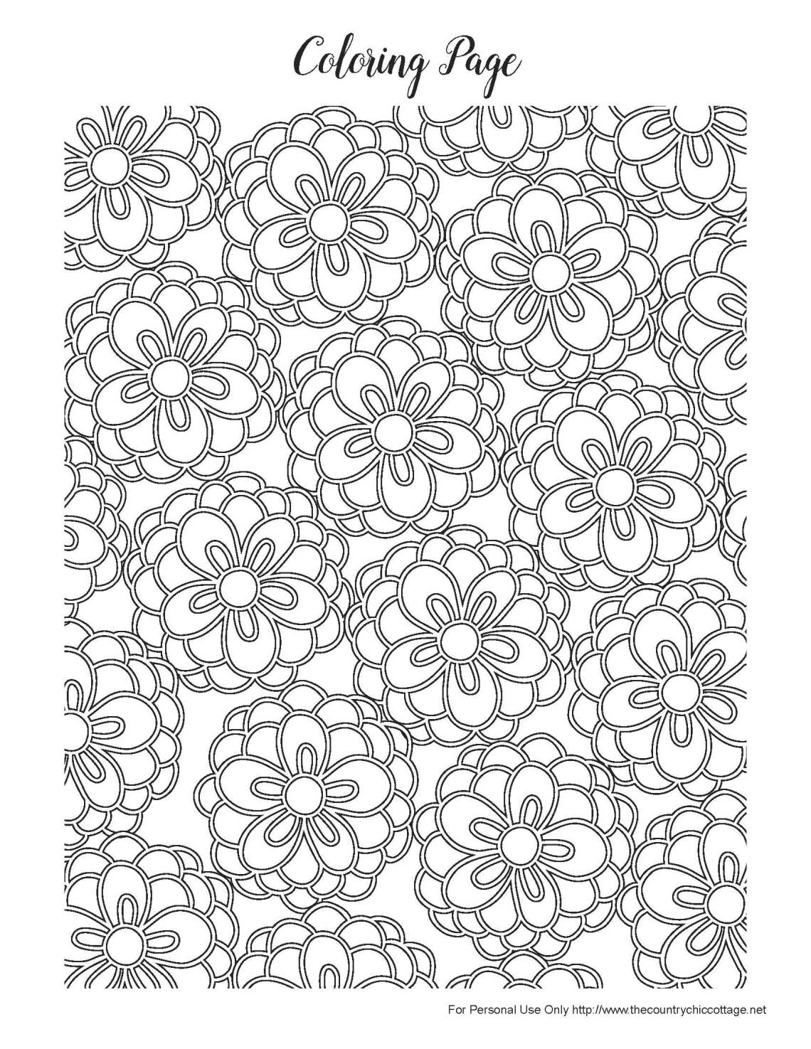 Free Spring Coloring Pages for Adults - The Country Chic ... | coloring pages for adults flowers