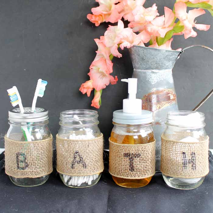 Mason Jar Bathroom Set Make Your Own  The Country Chic
