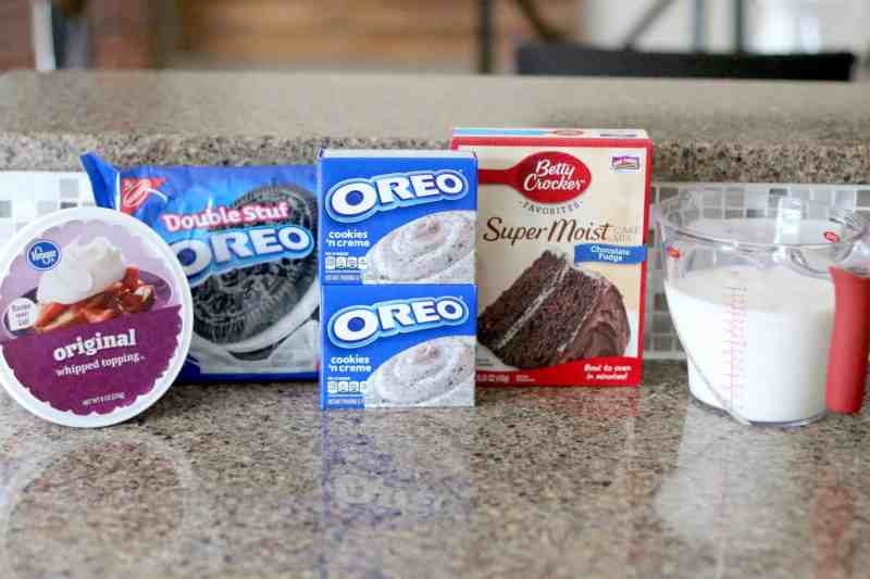 Cake Mix, Oreo Pudding, Oreo Cookies, Whipped Topping - Cool Whip, Milk
