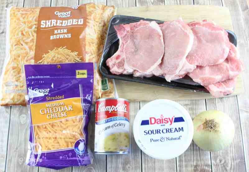 hashbrowns, pork chops, shredded cheddar cheese, sour cream, cream of chicken