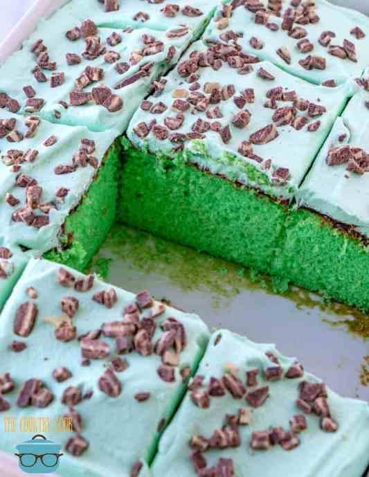 green mint grasshopper cake, sliced