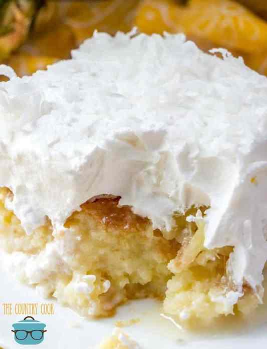 slice, Pineapple Coconut Poke Cake