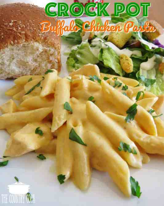 Crock Pot Buffalo Chicken Pasta recipe from The Country Cook