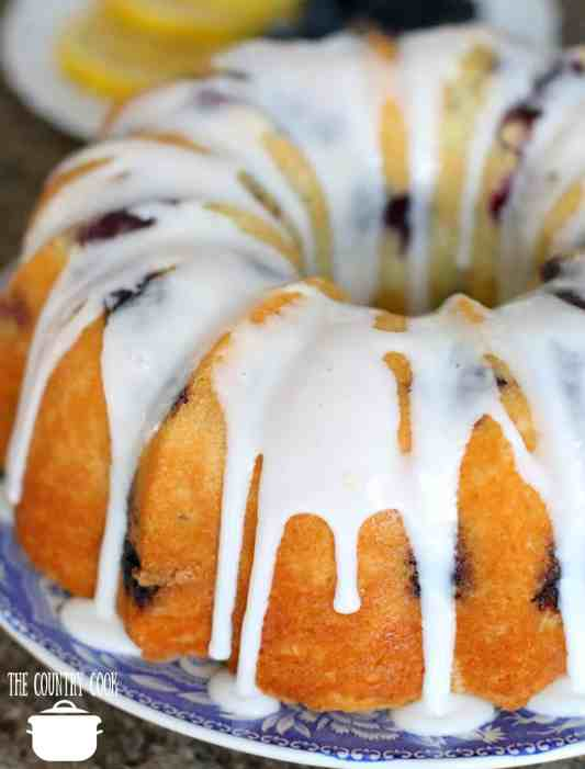 Fresh Blueberry Muffin Cake with icing