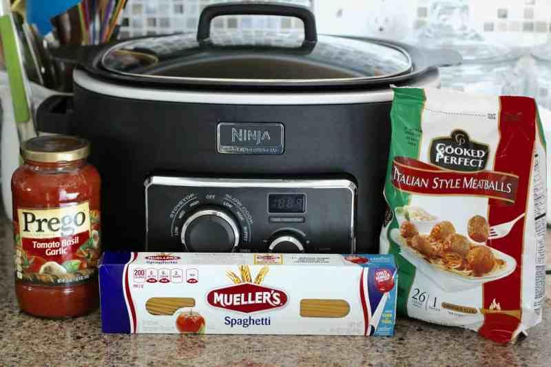 slow cooker, spaghetti, frozen meatballs, jarred spaghetti sauce