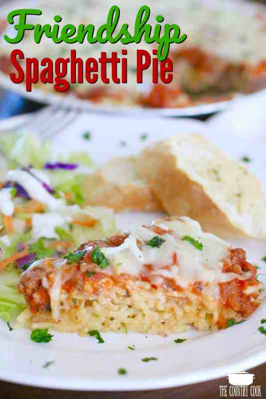 Friendship Spaghetti Pie recipe from The Country Cook