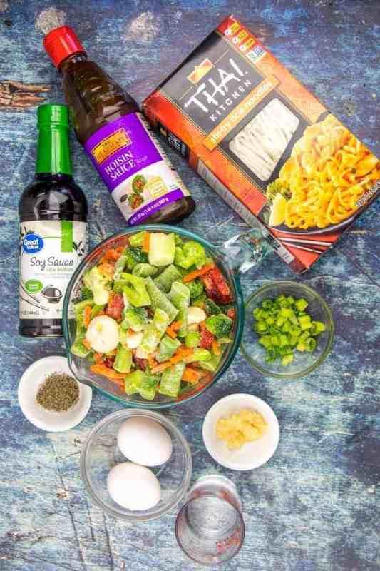 hoisin sauce, soy sauce, rice noodles, stir fry vegetables, green onion, egg, garlic, vegetable oil