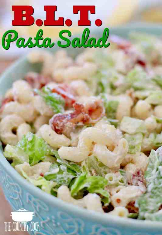BLT Pasta Salad recipe from The Country Cook #macaroni #salad #sides #recipes #pasta