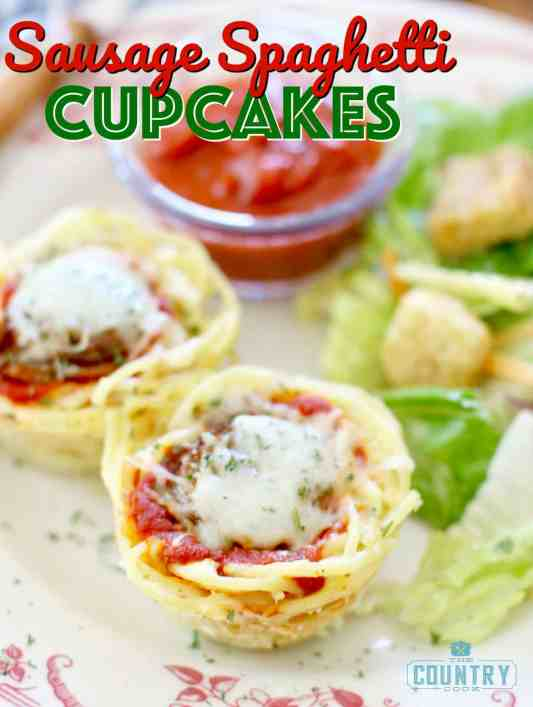 """Sausage Spaghetti """"Cupcakes"""" recipe from The Country Cook"""