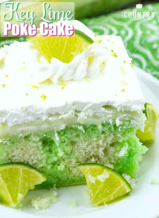 Key Lime Poke Cake recipe from The Country Cook