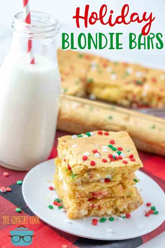 Easy Holiday Blondie Bars recipe from The Country Cook