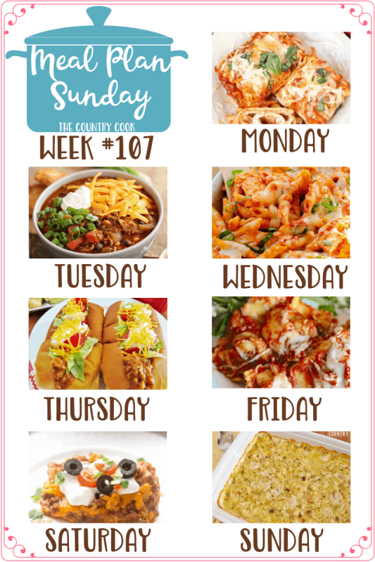 Meal Plan recipes: Easy Lasagna Rolls, Chicken Parmesan Casserole, Taco Sloppy Joes, Crock Pot Ravioli, Burrito Bake and Chicken and Dumplings Casserole #mealplan #dinner