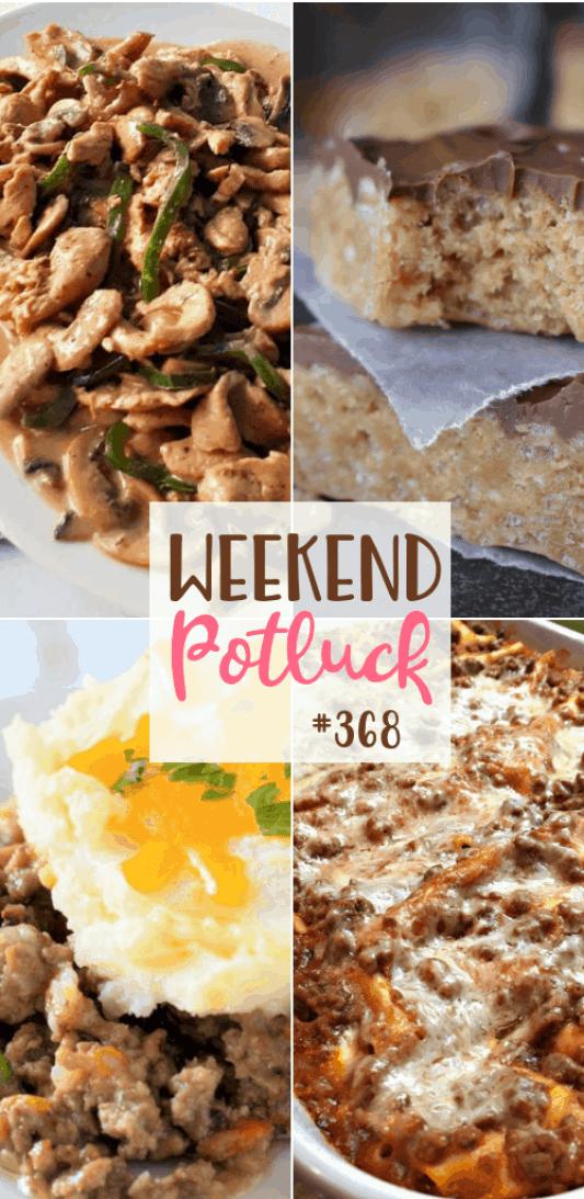Featured recipes at Weekend Potluck: Best Ever Scotcheroos, Drunken Chicken Stir Fry, Ultimate Shepherd's Pie, Quick and Easy Lasagna #mealplan #dinner