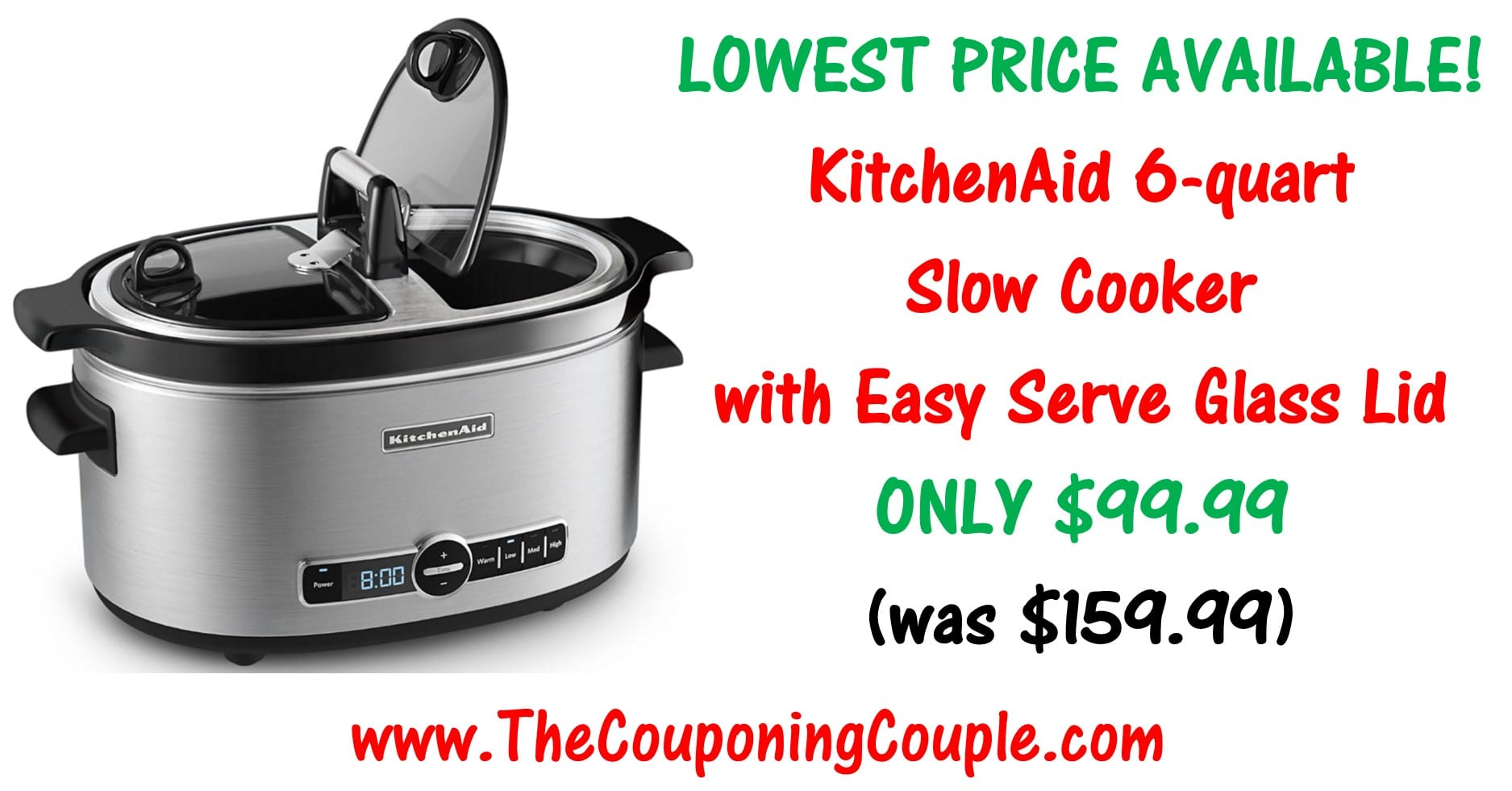 kitchen aid slow cooker eat in sets kitchenaid 6 quart with easy serve glass lid