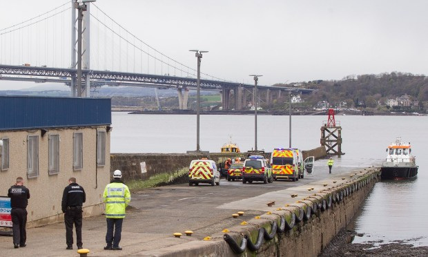 Police at the scene in South Queensferry.