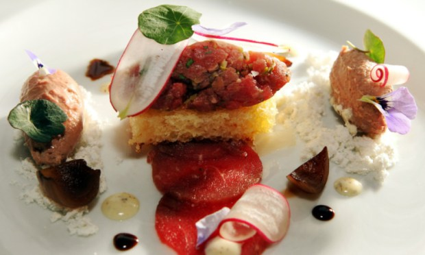 The carpaccio of beef starter.