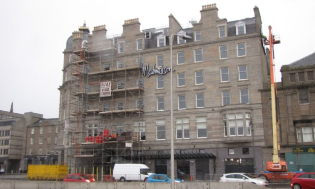 Scaffolding was re-erected at the Malmaison after it was hit by flooding weeks ago.