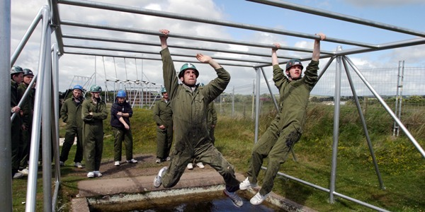 Black Watch fun day at Barry Buddon   -   Some of the Claverhouse group take to the assault course.