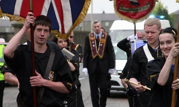Clepington Road, Dundee. Orange Walk to City Square. Pictured are members of the Dundee Campsie Club Apprentice Boys of Derry.