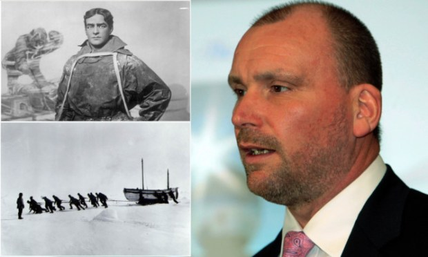 Clockwise, from top left: Sir Ernest Shackleton, Stewart Stirling, the expedition with Shackleton looking on.