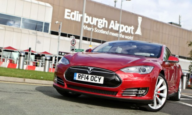 A Tesla model S at Edinburgh Airport.