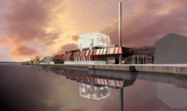 An impression of the planned biomass plant for Dundee waterfront.