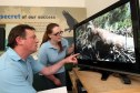 Steve MacDougall, Courier, Loch of the Lowes, Dunkeld. Osprey close to death at the wildlife centre. Pictured, the news of the poor health of the Osprey has attracted concerned visitors to the centre. Pictured, centre manager Peter Ferns and volunteer ranger Anna Cheshier beside the live images from the nest.