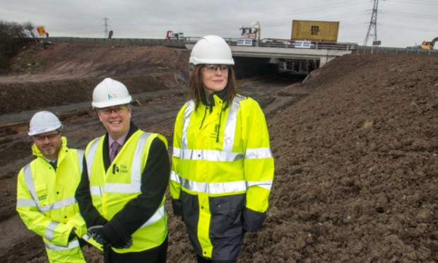 Chief Executive Scottish Canals Steve Dunlop, Transport Minister Keith Brown and Director of Development Services for Falkirk Council Rhona Geisler visit the site.