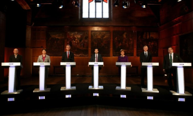 From left: Scottish Green Party Leader Patrick Harvie, Scottish Conservative Leader Ruth Davidson MSP, Scottish Labour leader Jim Murphy, BBC Host James Cook, First Minister and SNP leader Nicola Sturgeon, Scottish Liberal Democrat leader Willie Rennie MSP and UKIP MEP David Coburn.