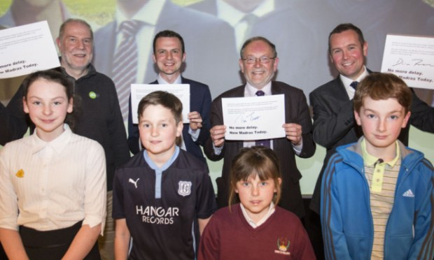 From left, back: Andy Collins (Scottish Green), Stephen Gethins (SNP), Tim Brett (Scottish Liberal Democrats) and Brian Thomson (Scottish Labour); front: Inez Spence, Charlie Thomson, Amy Thompson and Liam Baillie.