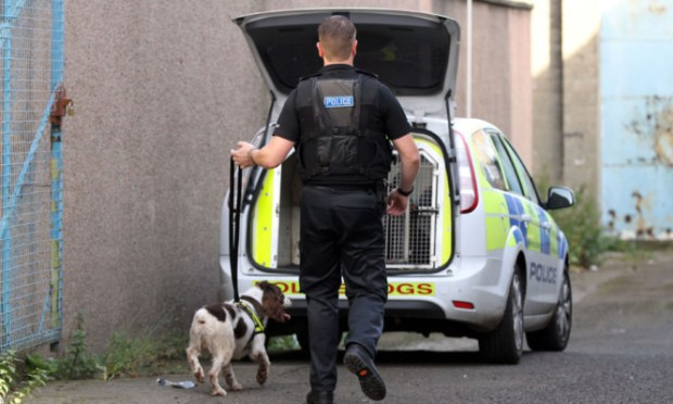 A police dog handler at the scene of a raid in Dundee.