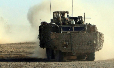 A British Army Mastiff armoured vehicle, similar to the one the soldiers were travelling in when attacked.