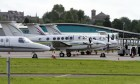 Private jets lined up at Dundee for the recent Dunhill Links Golf Championship.