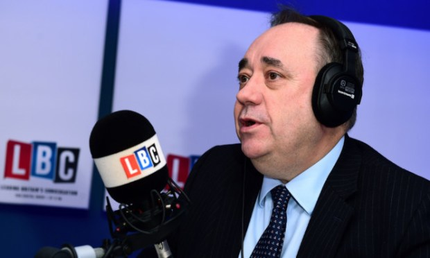 Alex Salmond takes part in his first live weekly phone-in on the national news talk radio station LBC, hosted by presenter Iain Dale.