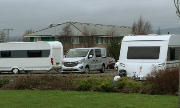 Traveller vans parked outside Angus Council HQ in Forfar on Thursdsay.