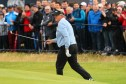 Colin Montgomerie's 76 included a dunk in the Barry Burn at the last