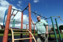 Mick Green at the climbing frame in Carleton Park, Glenrothes.