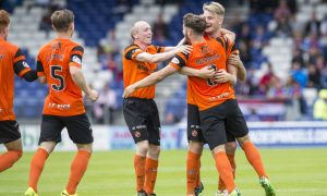 23/07/16 BETFRED LEAGUE CUP - GROUP C    INVERNESS CALEY THISTLE  V DUNDEE UNITED    TULLOCH CALEDONIAN STADIUM - INVERNESS    Dundee United Stewart Murdoch celebrating after levelling  the scoring making it 1-1