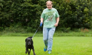 Robert Fleming from Forfar with his black labrador dog