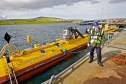 Paul Wheelhouse at the Orkney tidal power launch site.