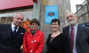 Libor Sečka , Ambassador of the Czech Republic to the Court of St James; Principal Professor Sally Mapstone; Professor Verity Brown, Vice-Principal (Enterprise & Engagement); Mr Paul Vyšný, retired lecturer in History who researched the history of Pavel Kravař.