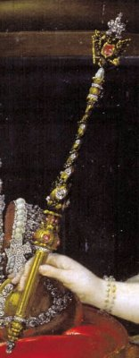 Detail of imperial sceptre from Alexei Antropov's portrait of Catherine the Great (ca. 1760s) [image in public domain]
