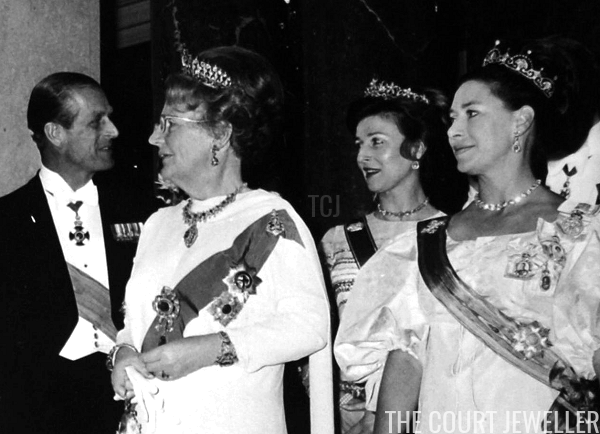Princess Alexandra (with Prince Philip, Queen Juliana, and Princess Margaret) wears the tiara during the state visit from Queen Juliana of the Netherlands, June 1972