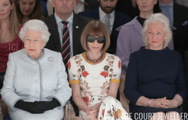 The Queen, Anna Wintour, and Angela Kelly attending a runway show duringLondon Fashion Week, February 2018 (Yui Mok - Pool/Getty Images)