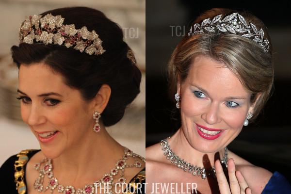 Crown Princess Mary wears the Danish Ruby Parure Tiara, Queen Mathilde wears the Brabant Laurel Wreath Tiara